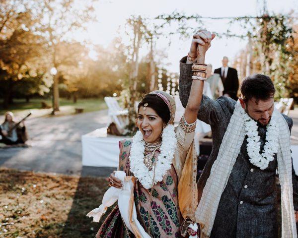 Indian Bride and Groom with Flower Garland around their necks