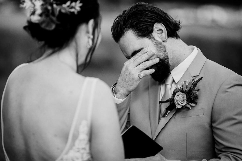 Groom Crying Black and White Wedding Photography