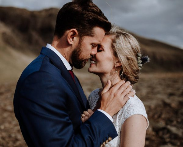 Bride and Groom posing for Wedding Photography in Iceland