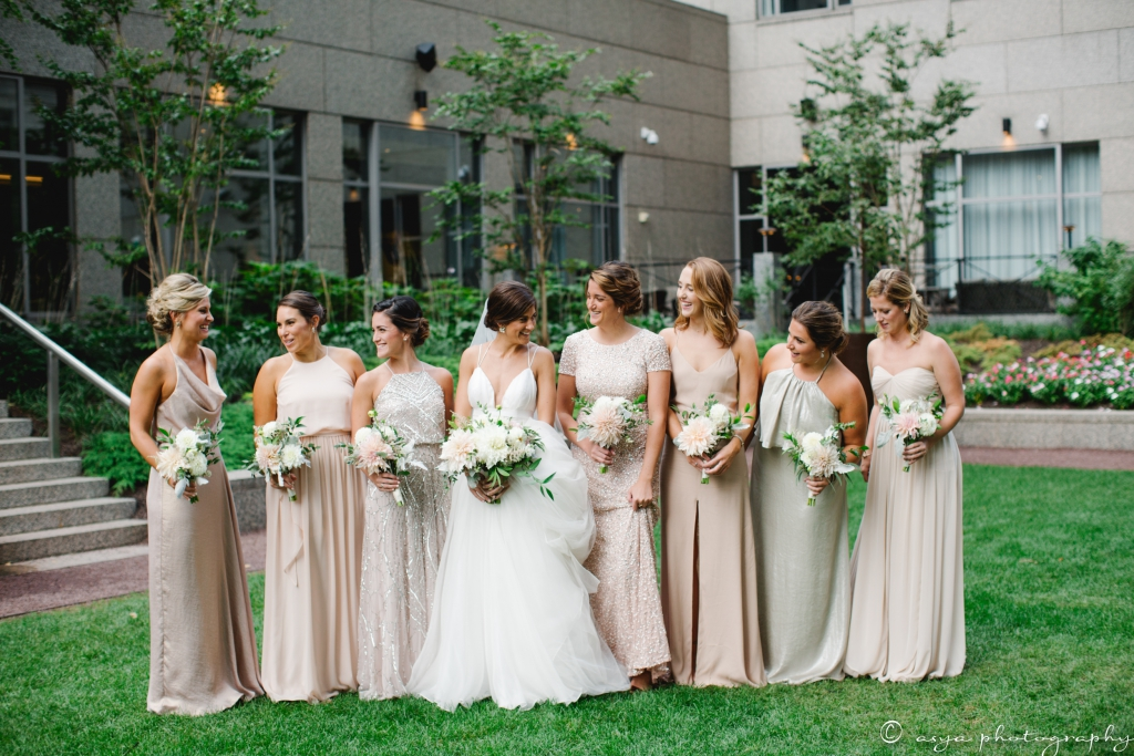 Ali and her bridesmaids in mismatched, neutral dresses complementing each body type. Photo by Asya Photography. Coordination by DPNAK.