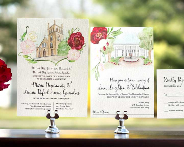 Venue inspired invitation suite by Hand-Painted Weddings