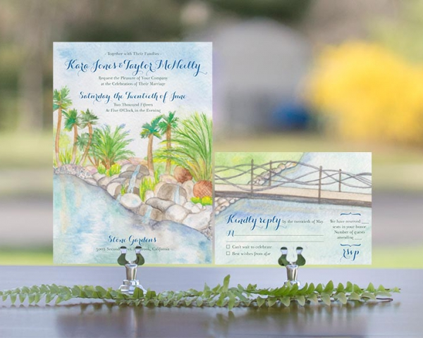 Watercolor invitations by Hand-Painted Weddings
