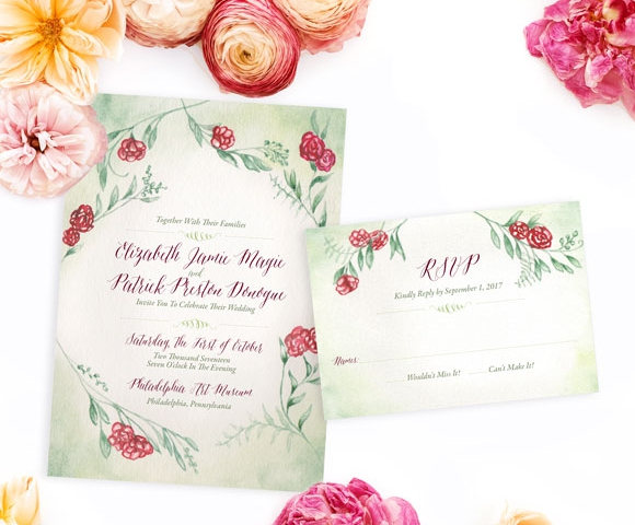 Red rose style wedding invitation from Hand-Painted Weddings