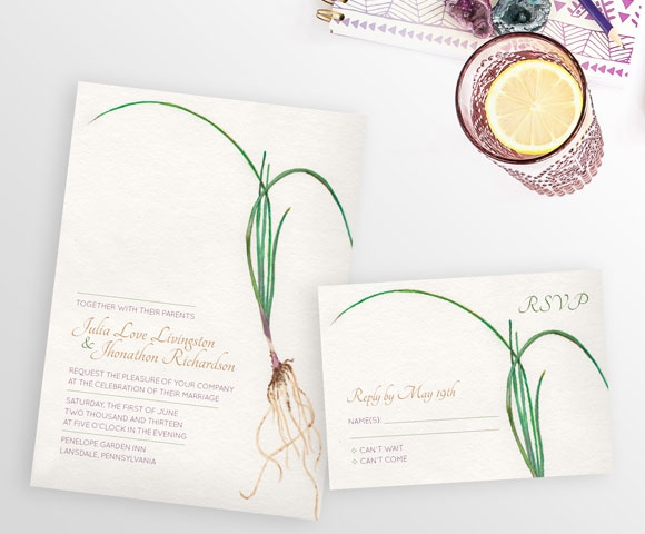 Roots themed wedding invitation from Hand-Painted Weddings