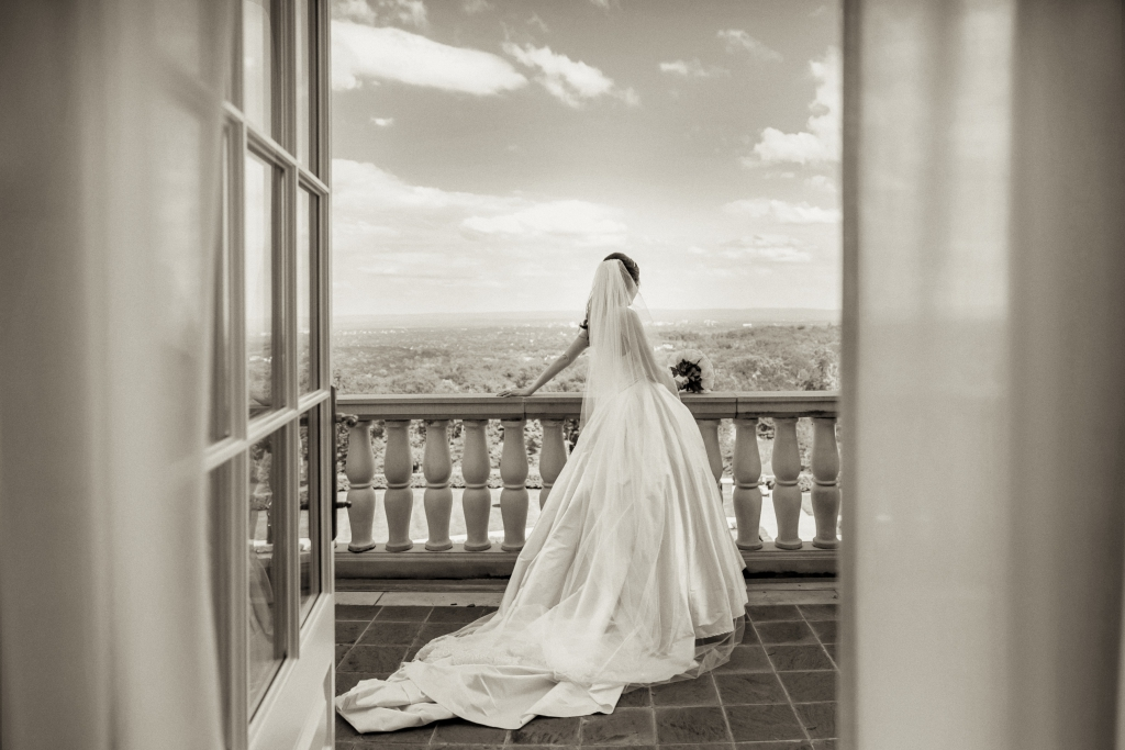 bride balcony vista wedding black and white