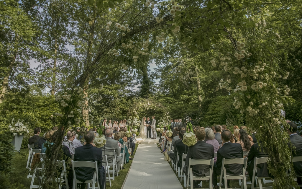 backyard outdoor wedding ceremony