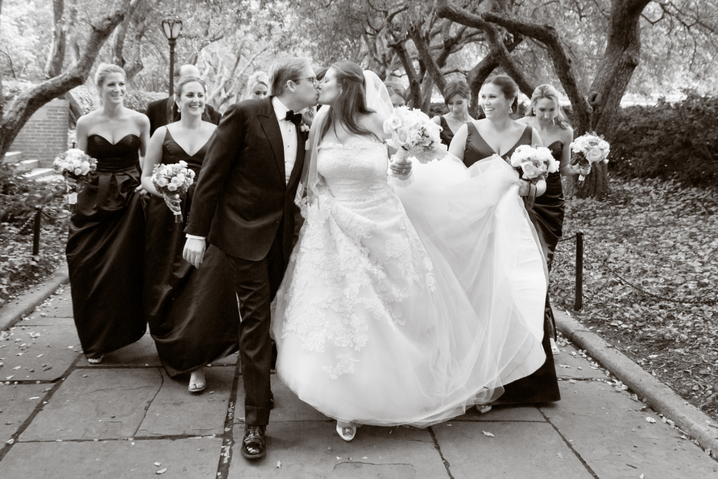 central park wedding black and white ny