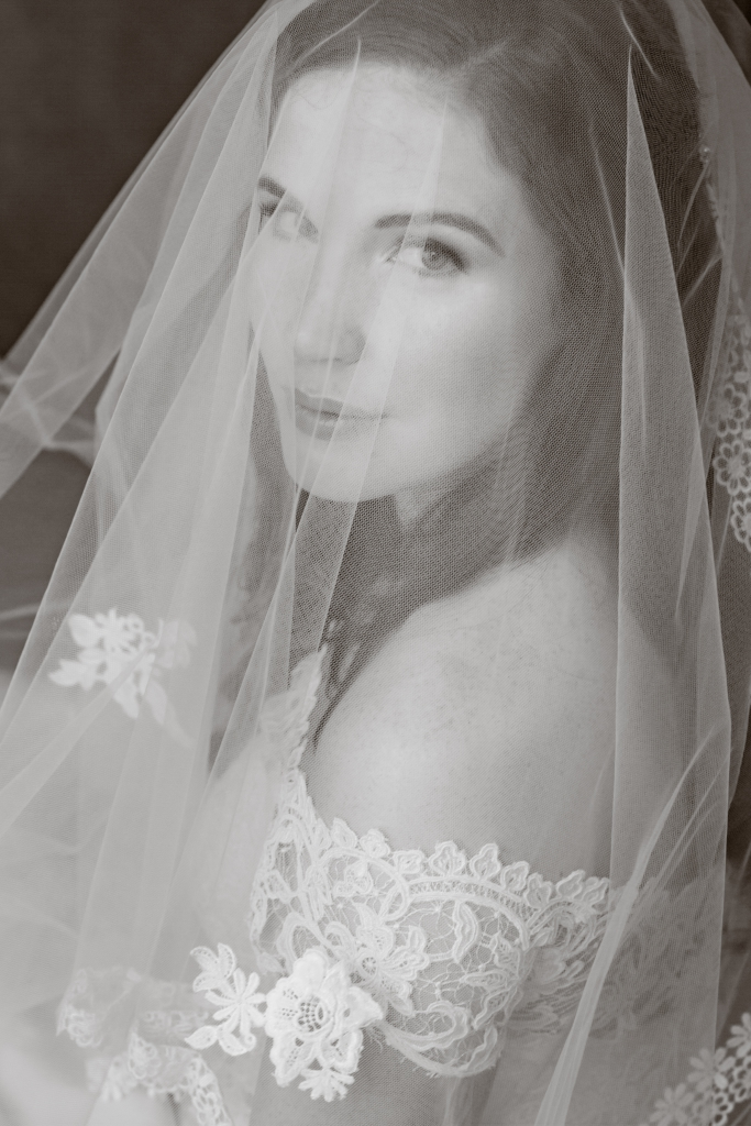 ct bridal portrait black and white kristin
