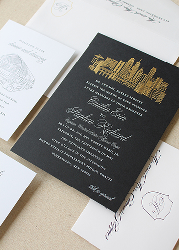 Fleurish_ink_Philadelphia_Skyline_gold_Foil_wedding_invitation