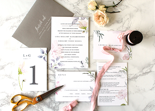 Pastel and floral invitation suite by Fleurish Ink