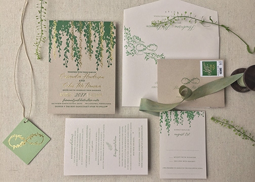 Wisteria Letterpress Invitation Suite