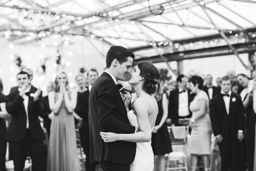 Bride and Groom on dancefloor at their Horticulture Center wedding.