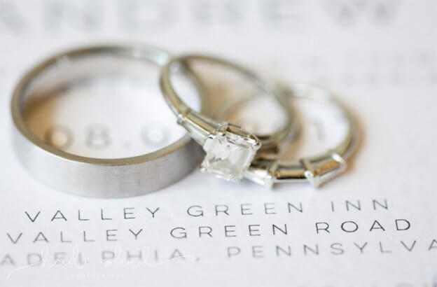 Wedding Rings on Invitation for Valley Green Inn Wedding