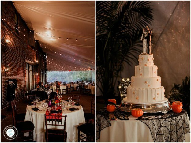 Halloween Wedding at Greenville Country Club with pumpkin cake and spiderwebs