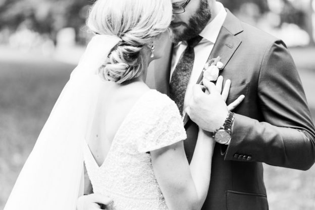 Chic bride and groom embrace at la peg wedding in Philadelphia. Shared on Flutter Social by the Styled Bride