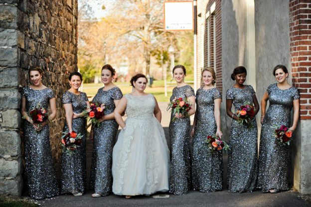 Bride and bridemaids in pewter sequinned gowns at Hotel Bethehem Wedding