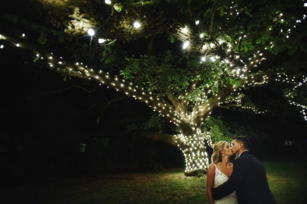 Bride and Groom at night at Aldie Mansion