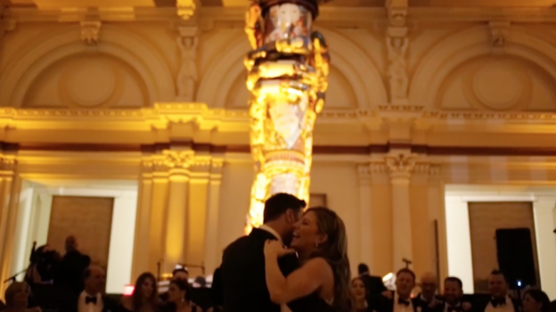 Bride and groom's first dance during Please Touch Museum wedding