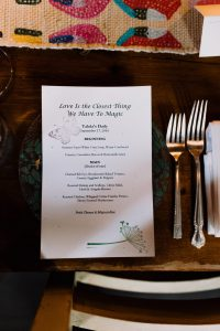 Personalized event menu at Talula's Daily