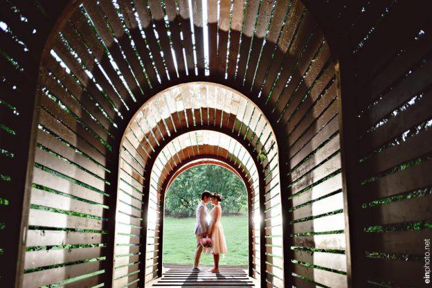 Bride and groom at Tyler Arboretum Wedding