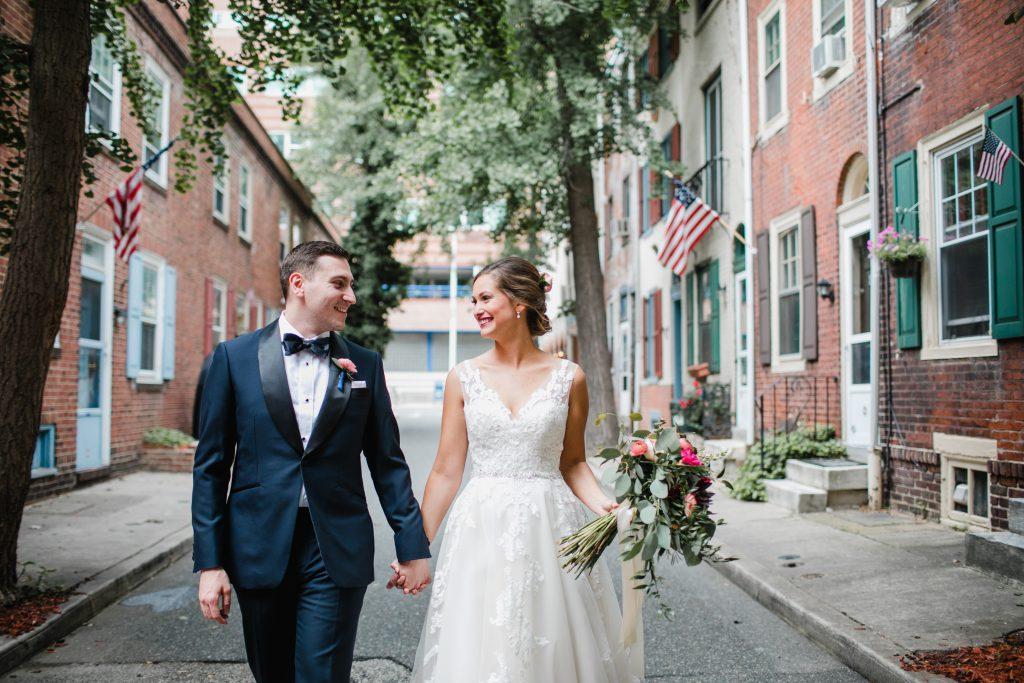 Bride and groom Center City Philadelphia wedding