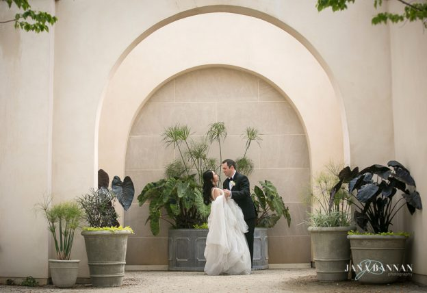 Bride and groom portrait at Longwood Gardens