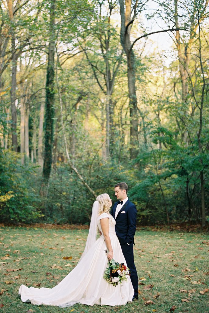 Fall Bride and Groom at The Old Mill