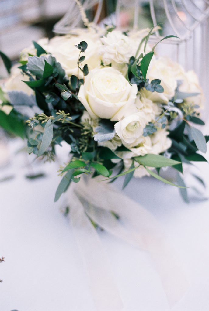 White Rose Bouquet with Greenery by Marrazo's Manor Lane Florist. Photo by Du Soleil Photographie.