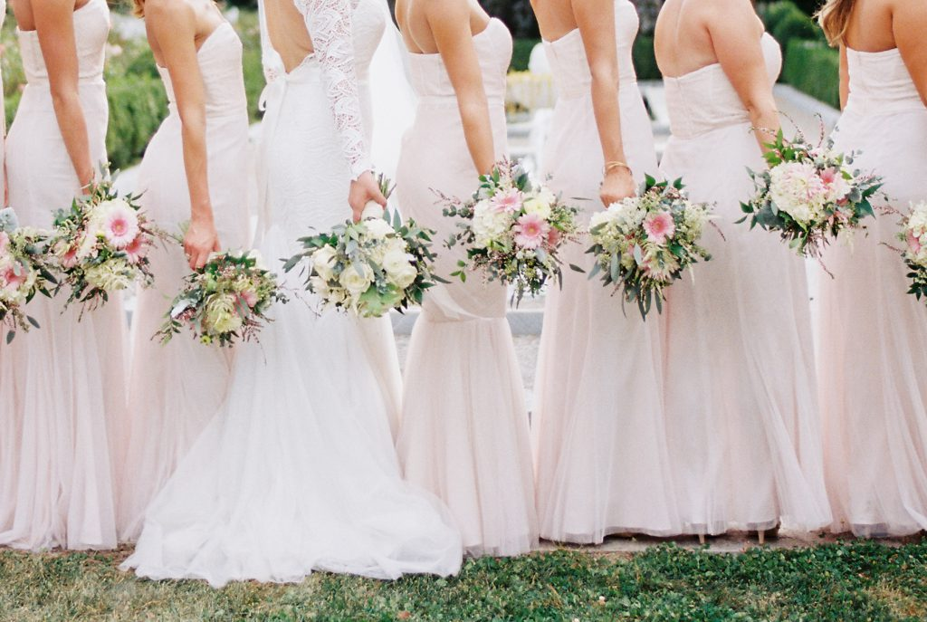 Blush Bridesmaids dresses with pink, white, and green bouquets. Photo by Du Soleil Photographie.