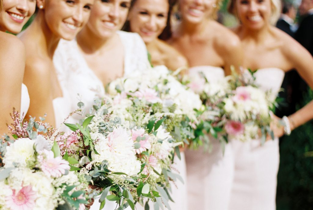 Pink, white, green wedding bouquets by Marrazo's Manor Lane Florist. Photo by Du Soleil Photographie.