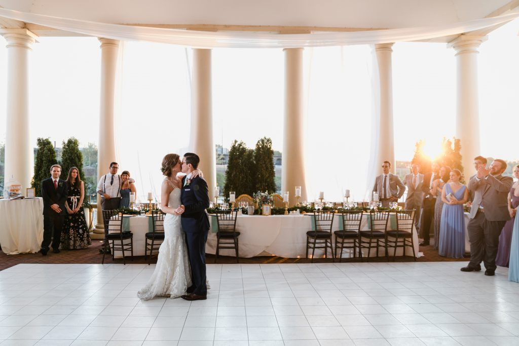 Spring Wedding at Philadelphia Water Works with Couple on Dance Floor. Photo by Love Me Do Photography.