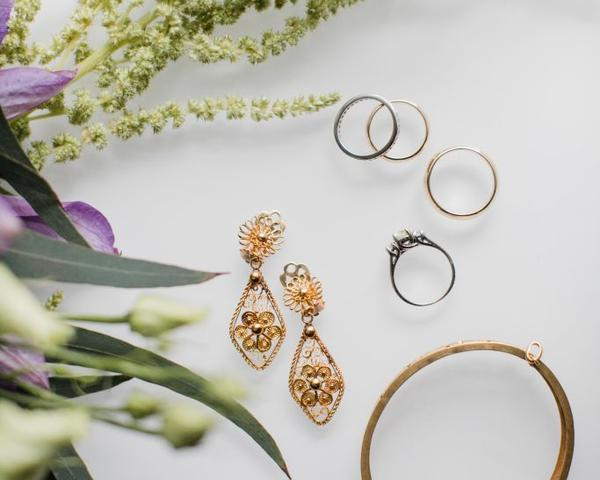 Vintage wedding jewelry rings, earrings, bracelet. Photo by Love Me do Photography.