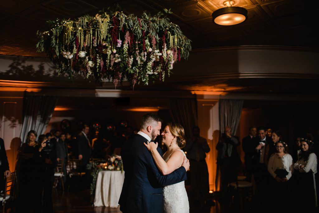 Flower Chandelier Wedding at The Olde Bar Philadelphia by florist A Garden Party. Photo by Love Me Do Photography.