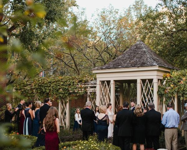 Small outdoor Fall wedding at 18th Century Garden in Philadelphia. Photo by Love Me Do Photography.