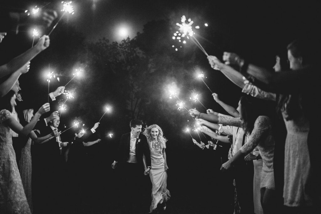 Sparkler send off for Bride and Groom at The Inn at Barley Sheaf Farm wedding. Photo by Paper Antler and shared by The Styled Bride.