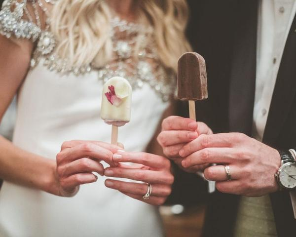 The Inn at Barley Sheaf Farm wedding desserts - popsicles, frozen treats. Photo by Paper Antler shared by The Styled Bride.