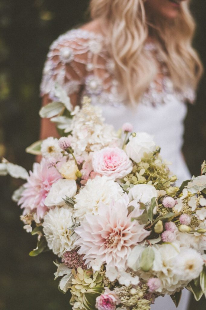 Blush, Ivory and Green Bridal Bouquet