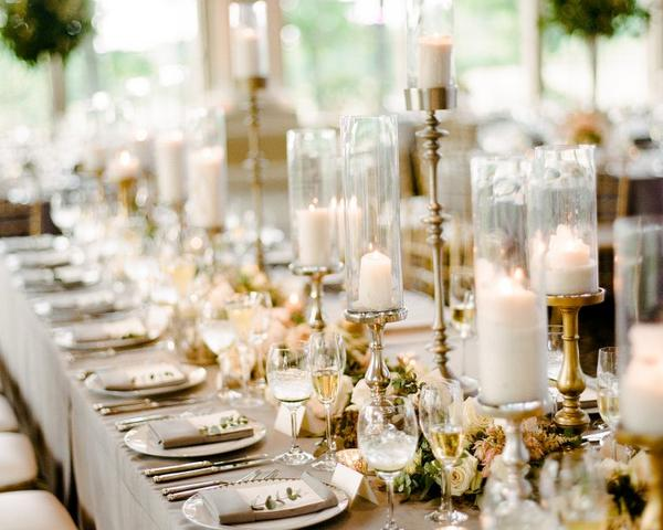 Neutral and gold tablescape with gold candlesticks at Ashford Estate Wedding. Photo by Rebecca Yale. Shared on Flutter Social by The Styled Bride.