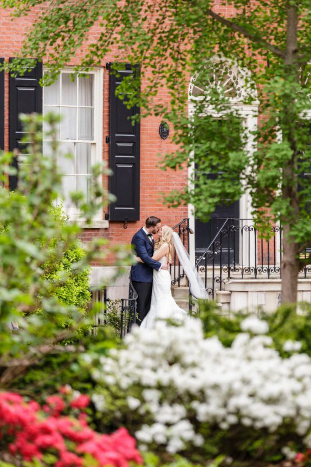Couple portrait in Old City before wedding at the Down Town Club in Philadelphia