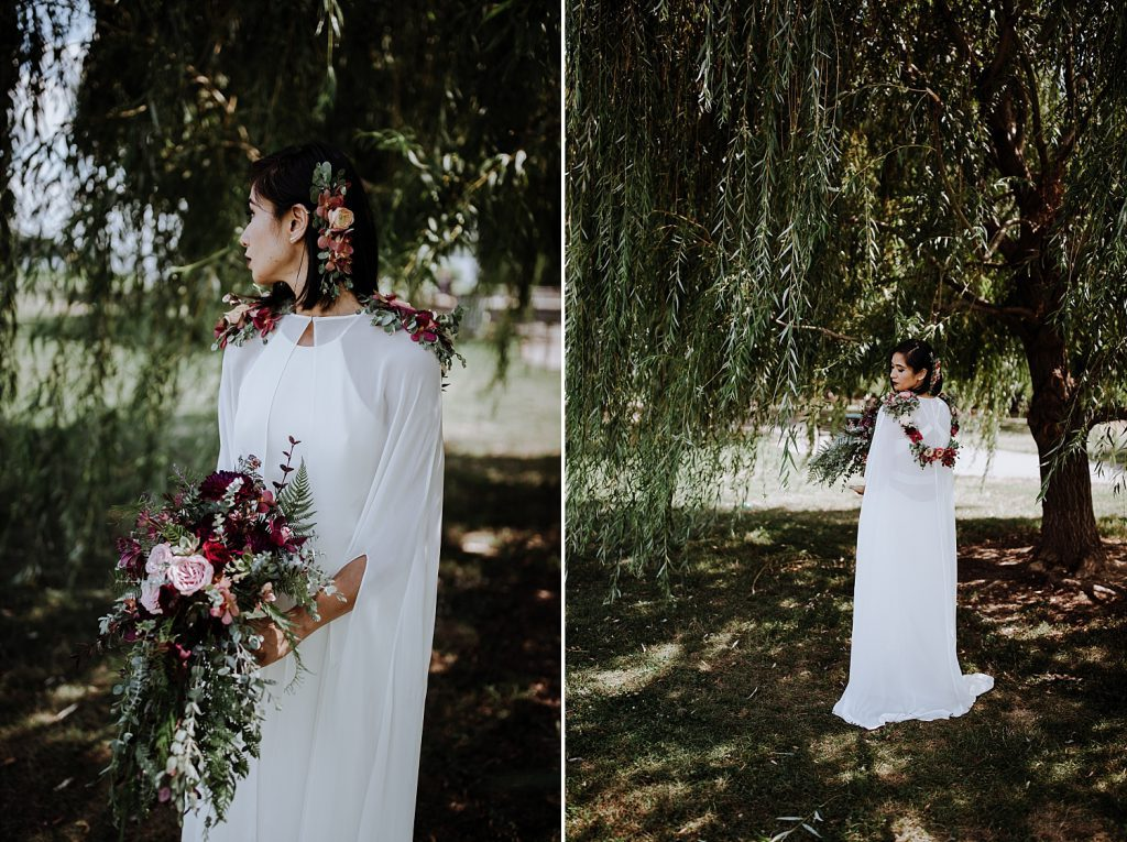 Bride in sheer cape and flowrer accessories