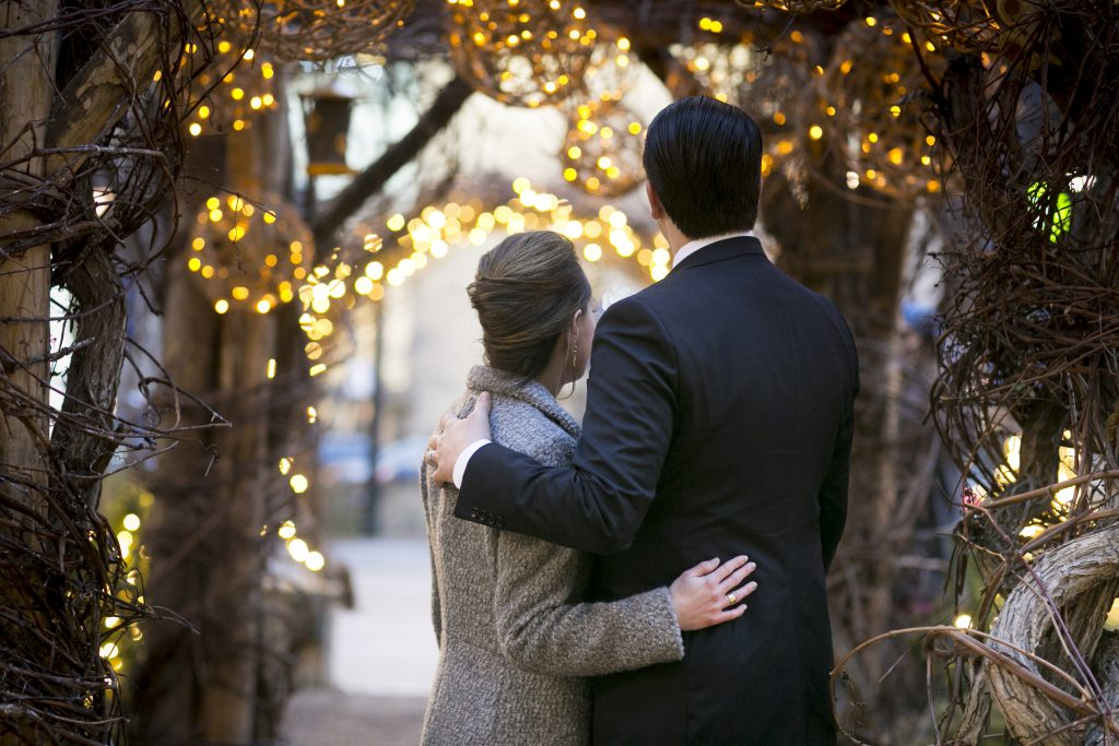 Dilworth Park Holiday Lights with Bride and Groom