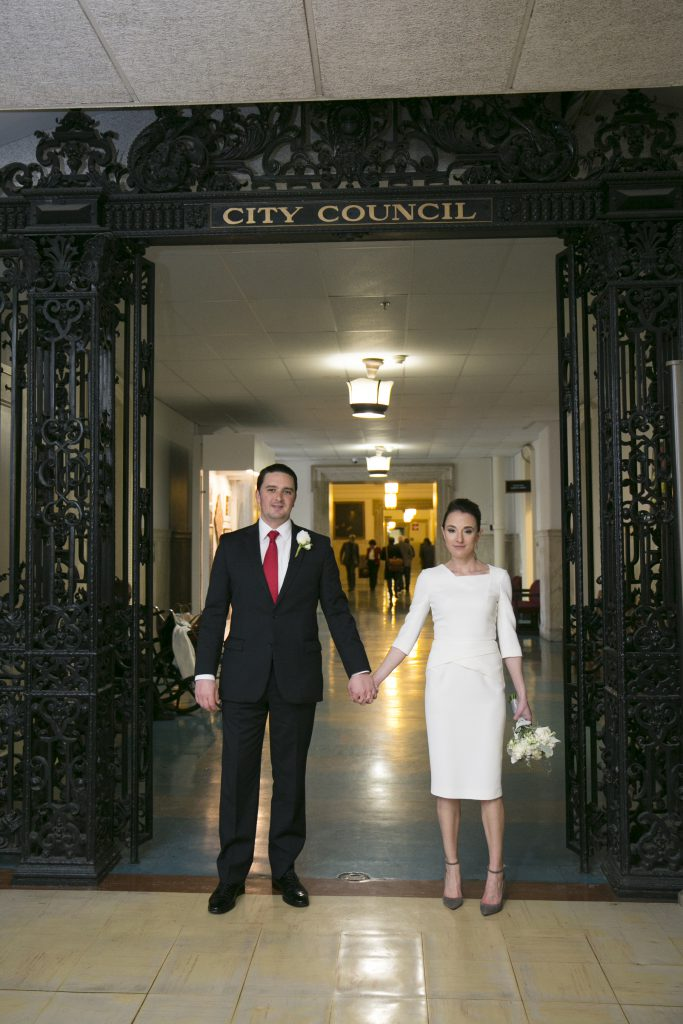 Bride and Groom at Philadelphia City Hall Wedding