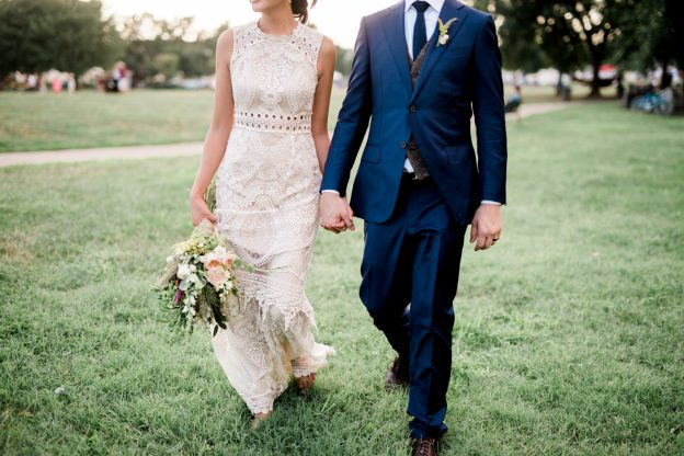 Bride and Groom walking during intimate Philadelphia wedding