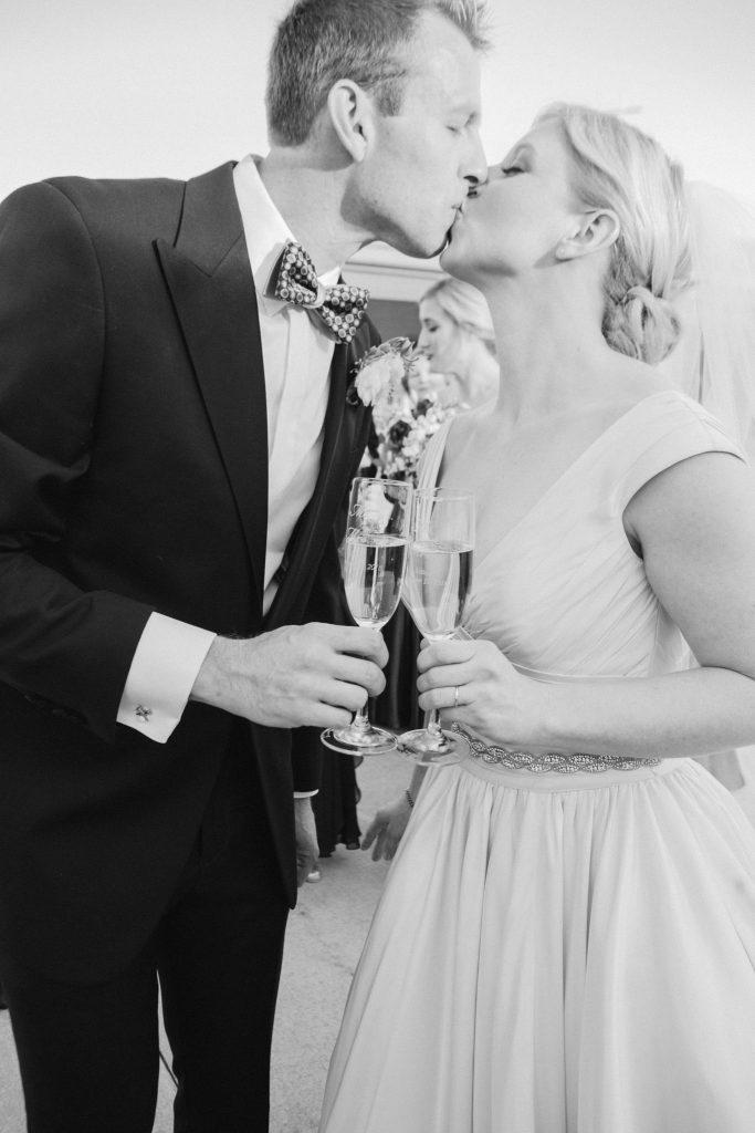 Aldie Mansion bride and groom champagne toast