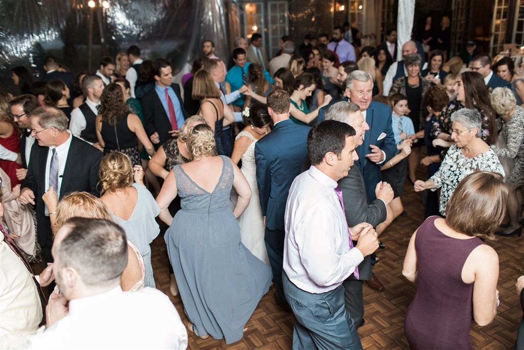guests on the dancefloor at greenville country club wedding