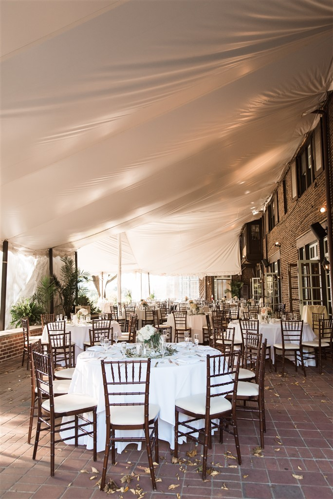 outdoor reception space at greenville country club