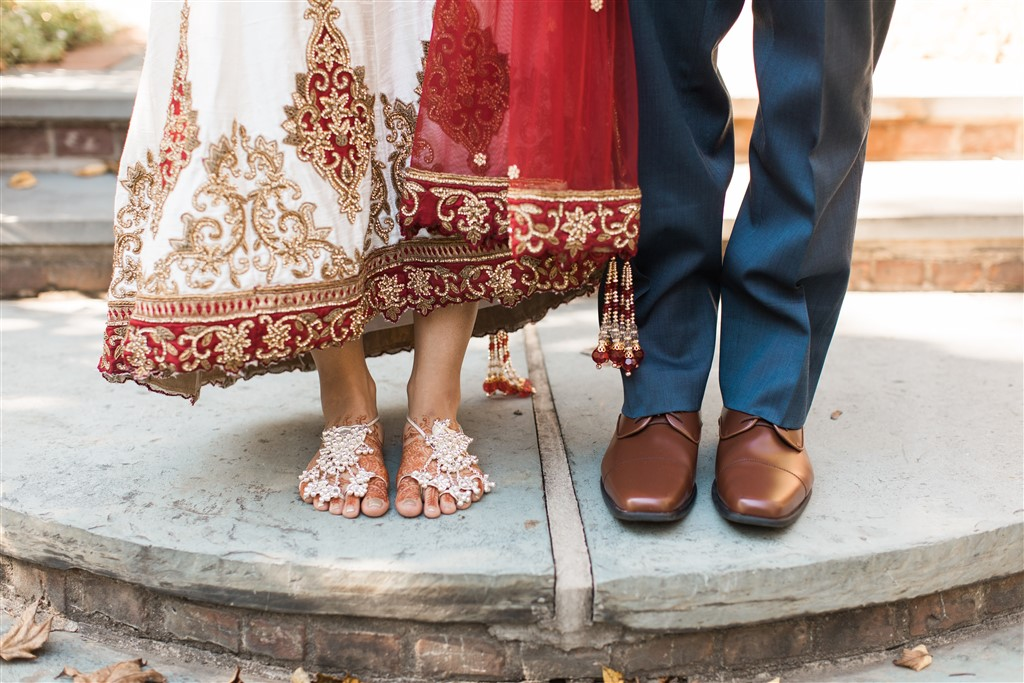bride and groom feet traditional indian bride philadelphia weddings