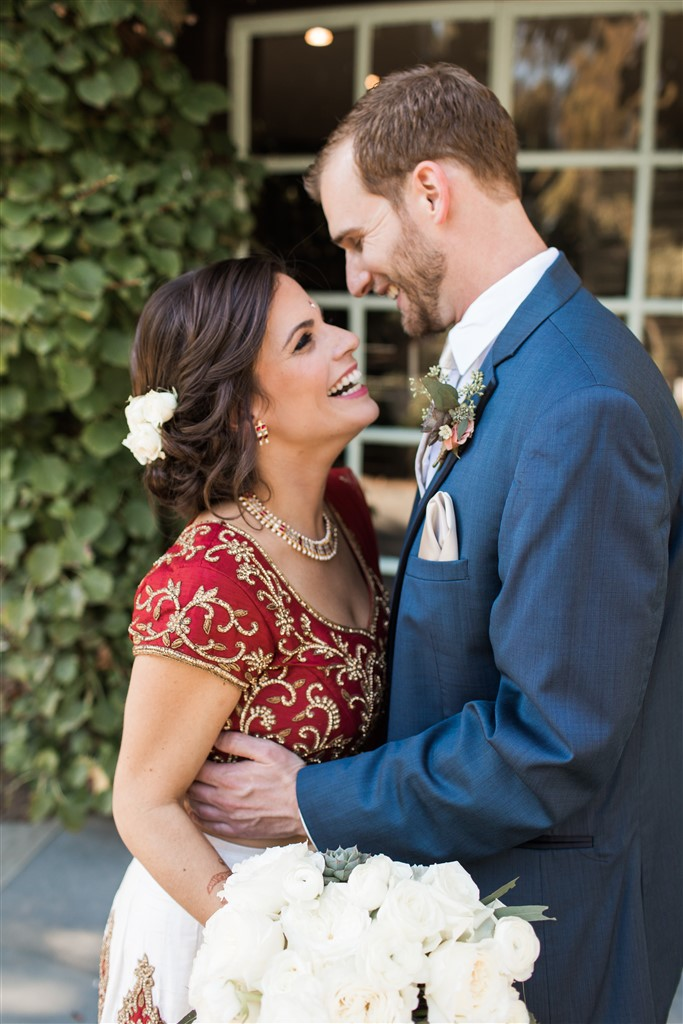 bride and groom share first look wedding at greenville country club