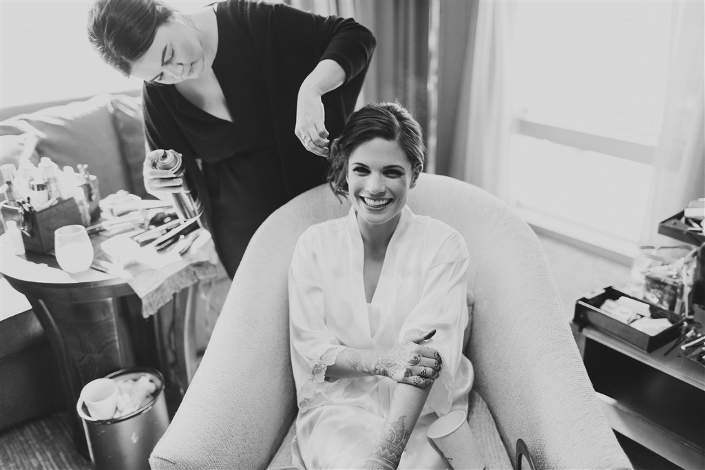 bride with henna getting ready photo by samantha jay photography