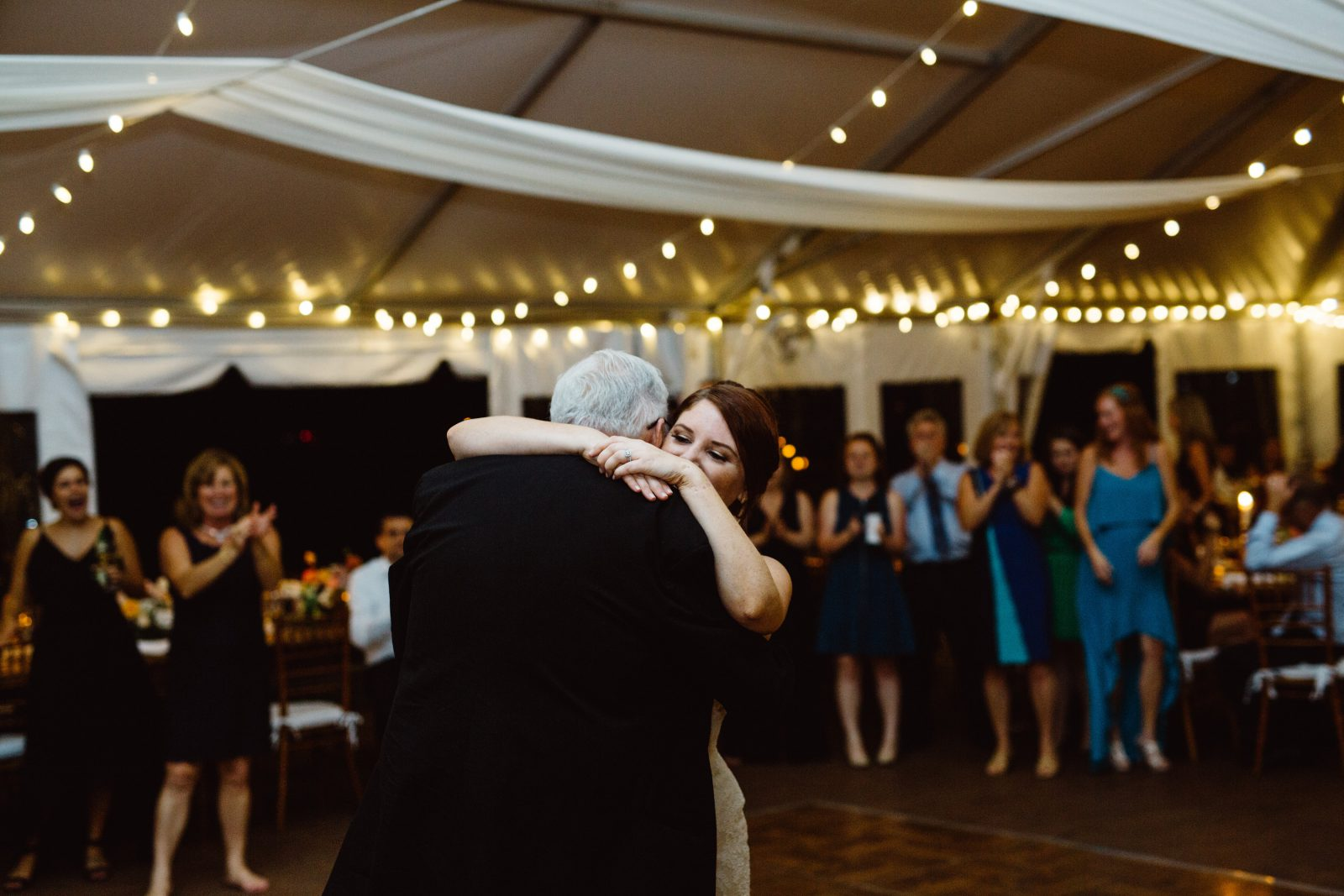 Father-daughter dance at tented Ridgeland Mansion Philadelphia Wedding. Photo by Ali & Paul Co.